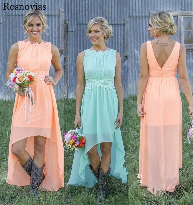 Cheap Chiffon Country Bridesmaid Dresses 2020 Boat Neck Pleats Backless High Low Beach Wedding Guest Gowns Prom Party Dresses