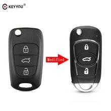KEYYOU nowy 3 przycisk zmodyfikowana klapka składana zdalna Auto obudowa kluczyka samochodowego skrzynki pokrywa dla Hyundai I30 I40 I20 IX35 Avante z logo