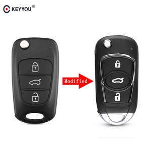 KEYYOU New 3 Button Modified Flip Folding Remote Auto Car Key Shell Case Cover for Hyundai I30 I40 I20 IX35 Avante With logo