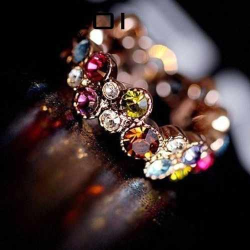 Austrian Crystal Stellux Gold Color Flower Pattern Love Women Lady Cute Round Multicolor Ring Elegant Fashion Jewelry R064