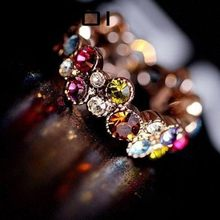 Austrian Crystal Stellux Gold Color Flower Pattern Love Women Lady Cute Round Multicolor Ring Elegant Fashion Jewelry R064(China)