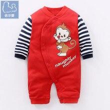 цены на YiErYing Newborn Clothes Autumn 100% Cotton Long Sleeve Cartoon Printed Baby Boys Girls Romper Lovely Baby Jumpsuits  в интернет-магазинах