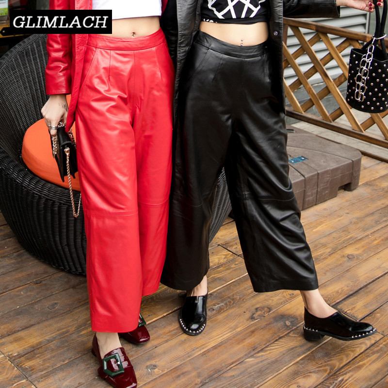 Women Korean Streetwear Real Leather   Wide     Leg     Pants   Loose Plus Size 2019 Autumn Sheepskin Ladies Leather Trousers Casual   Pants
