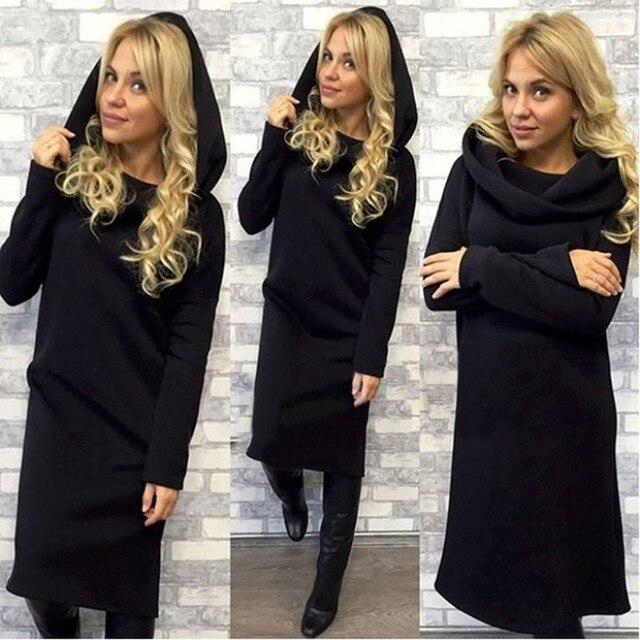 5b80c663fdb 2018 осень-зима Платья-свитеры Для женщин с длинным рукавом платье повязки  Свободные Длинные