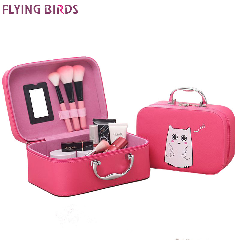 FLYING BIRDS Cosmetic Bags Box Makeup Bag Women Cosmetic Cases Cute Beauty Case Travel purse Jewelry Display Case Fashion holder 2017 women multi function storage cosmetic bags box jewelry display case travel purse wash makeup bag beauty case