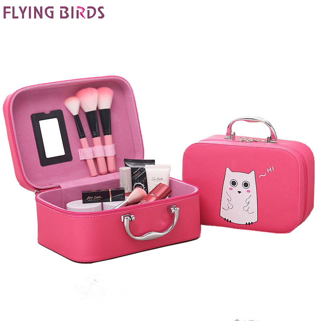 FLYING BIRDS Cosmetic Bags Box Makeup Bag Women Cosmetic Cases Cute Beauty Case  Travel purse Jewelry Display Case Fashion holder 56ef06078cb99