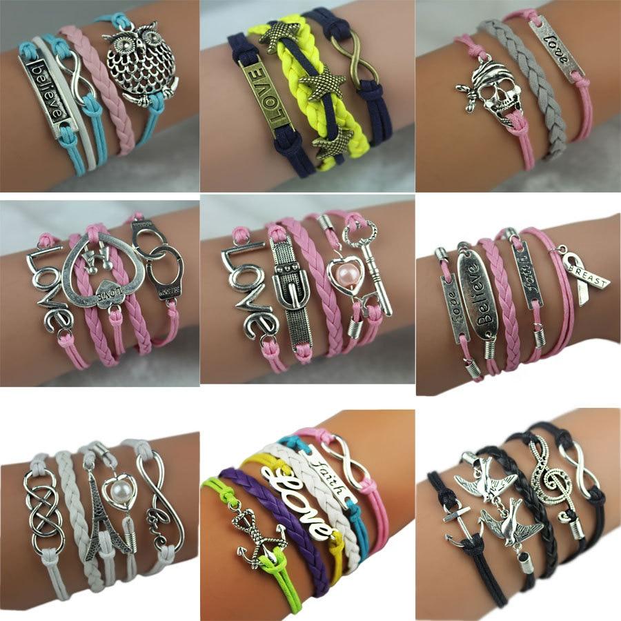 New kj339 Cute Owl Heart Pearl Friendship Multilayer Charm Leather bracelet men for women larimar jewelry beads