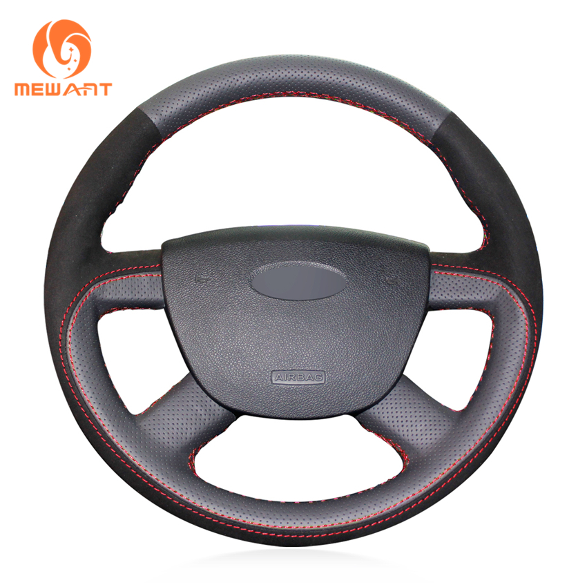 MEWANT Black Genuine Leather Black Suede Car Steering Wheel Cover for Ford Kuga 2008-2011 Focus 2 2005-2011 C-MAX 2007-2010 shining wheat black blue leather car steering wheel cover for ford focus 3 2012 2014 kuga escape 2013 2016 c max 2011 2014