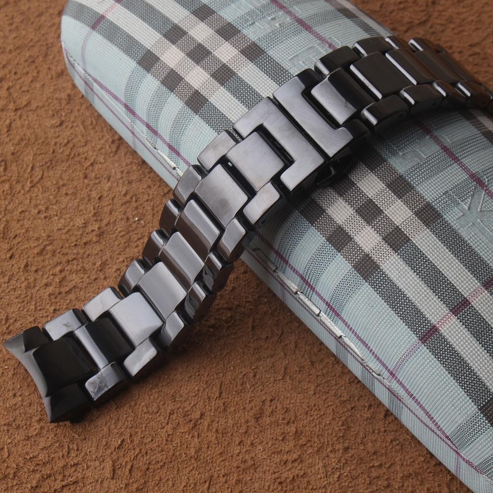 أسود السيراميك مربط الساعة + المعادن كليب لسامسونج غالاكسي ووتش 46 مللي متر SM R800 والعتاد S3 استبدال الفرقة شريط للرسغ معصمه منحني-في اشرطة الساعات من ساعات اليد على  مجموعة 1