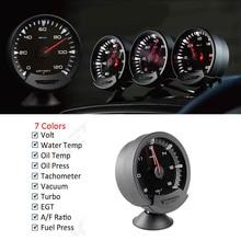 Greddi sirius medidor de temperatura, medidor de óleo, temperatura da água, 74mm, 7 cores, turbo, medidor automático com sensores