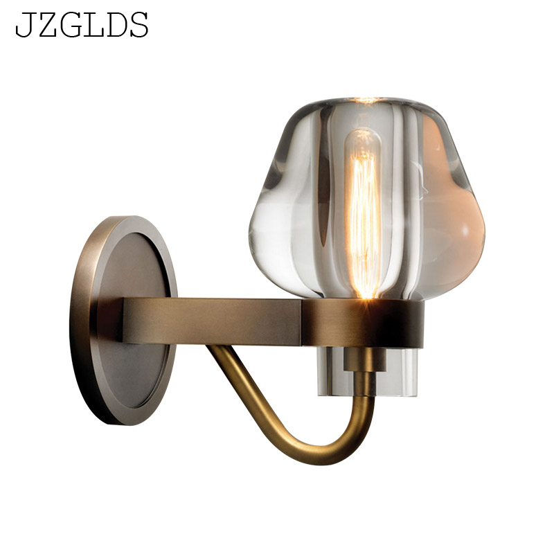 JZGLDS Modern crystal glass bronze lamp light luxury simple European style living room wall bedroom bedside aisle wall lamp