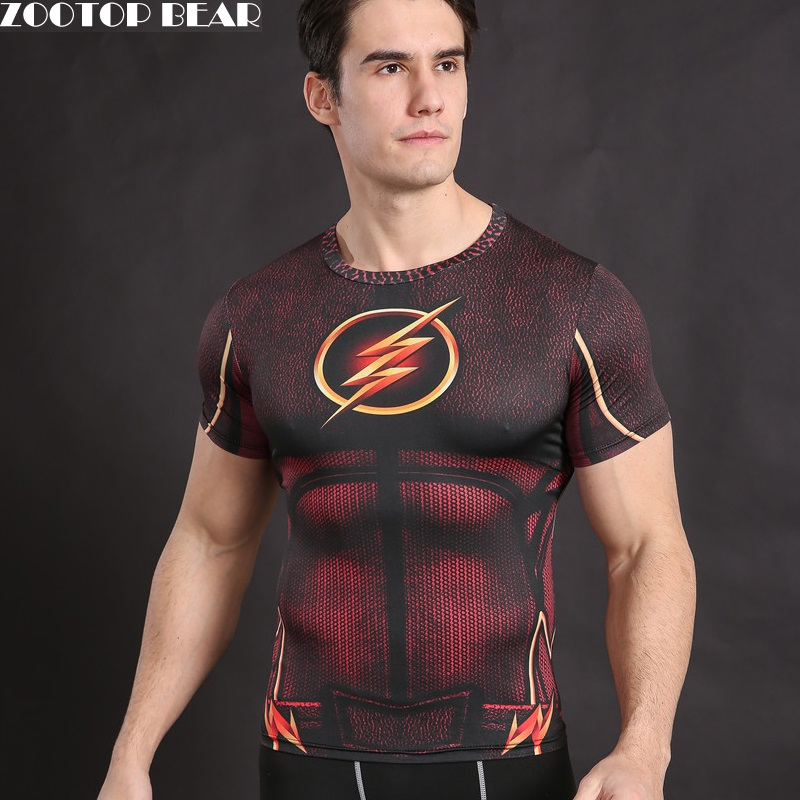 Flash T shirt Superhero Costume Cosplay T-Shirt Compression Shirt Fitness Tops Crossfit Camiseta Bodybuilding Tees ZOOTOP BEAR