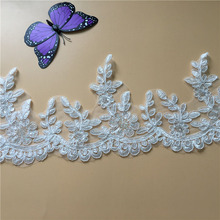 9Yards High Quality Scalloped Tulle Sequins Lace Trim Bling Wedding Dresses Bridal Veils Decoration DIY Y36