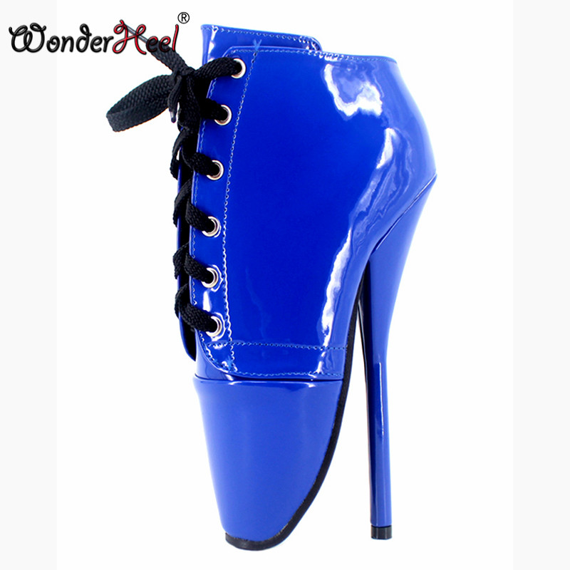 df9c5d63b69f10 Wonderheel nouvelle cheville de ballet bottes 18 cm de spike talon verni  rouge Ballet chaussures lace up sexy Fétiche chaussures femmes ballet bottes  grande ...