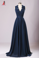 2017 Navy Blue Long Bridesmaid Dresses V Neck Lace Appliques Chiffon Backless Dress For Wedding Party