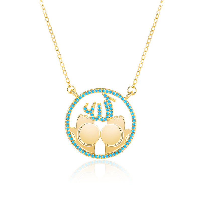 Statement Necklaces NEW Arabic Women Religion Muslim Islamic Hands Hold God Allah Charm Pendant Necklace Jewelry Ramadan Gift