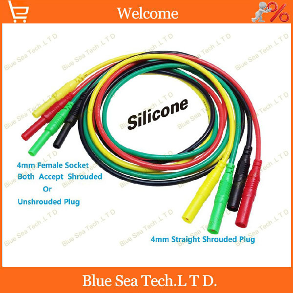 4pcs four color 1M High pressure multimeter pen extension test line with 4mm plug+socket,<font><b>13AWG</b></font> Ultra soft <font><b>silicone</b></font> <font><b>cable</b></font> image