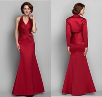 Newest Design 2015 Mother Of The Bride Dresses Red Ruched Halter With Jacket Satin Fashion Women Evening Dress