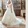 Lace Appliques Bridal Wedding Dresses V Neck Tulle Plus Size  Wedding Gowns Long Bride Dress 2017 Plus Size vestido de noiva