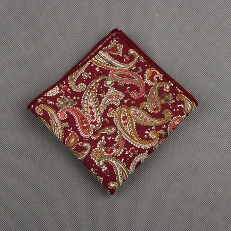 Cotton Printing Men's Suit Pocket Towel Handkerchief Fashion Prints Men Formal Wear Business Small Square Hanky