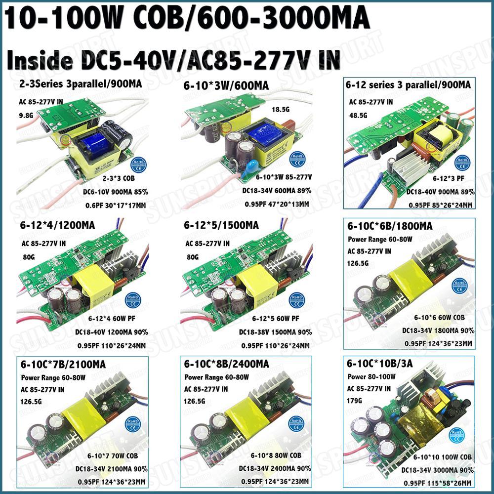 All'interno 5-100 W LED Driver 10 W 2-3Cx3B 6-12 Serie 20 W 30 W 40 W 50 W 60 W 70 W 80 W 100 W 0.6-3A DC5-40V Corrente Costante Spedizione Gratuita