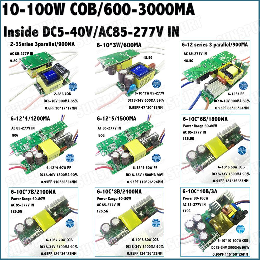 Inside 5-100W LED Driver 10W 2-3Cx3B 6-12 Series 20W 30W 40W 50W 60W 70W 80W 100W 0.6-3A DC5-40V Constant Current Free Shipping