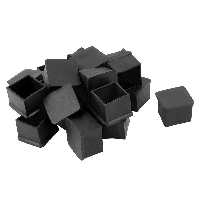 20pcs Square Black PVC Soft Furniture Leg Foot Cover Protector 30 X 30mm
