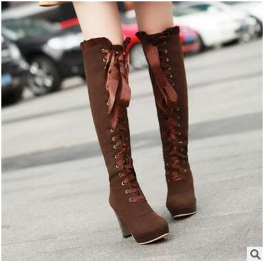 ФОТО 2016 women's Cotton boots high heel fashion ankel boots party Female marin boots cotton botas footwear zip Warm Thick Heel