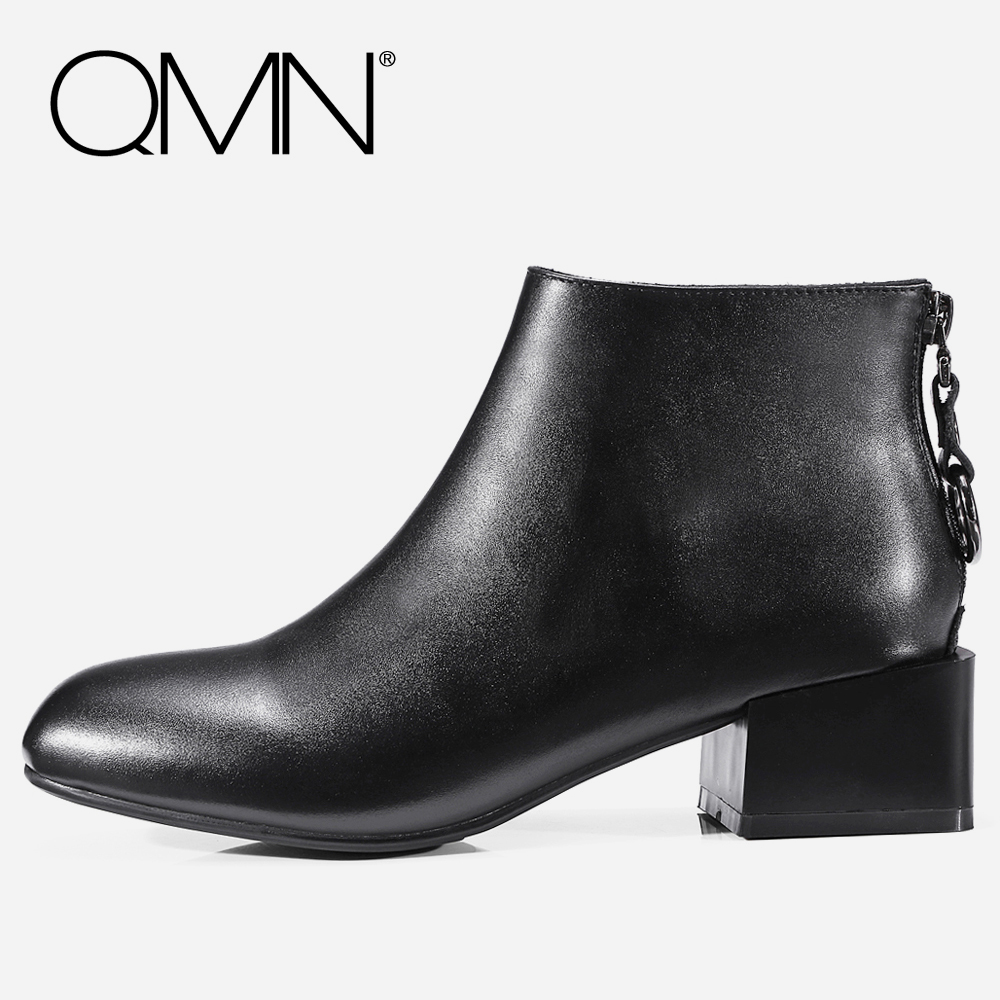 QMN women genuine leather ankle boots for Women Square Toe Fashion Boots Zip Shoes Woman Basic Boots Botas Femininas Size 34-39 qmn women crystal trimmed brushed embossed leather brogue shoes women square toe oxfords shoes woman genuine leather flats 34 43