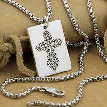 High Detail Deep Engraved Custom 925 Sterling Silver Cross Dog Tag Mens Biker Rocker Punk Pendant 9X005 Steel Necklace 24″