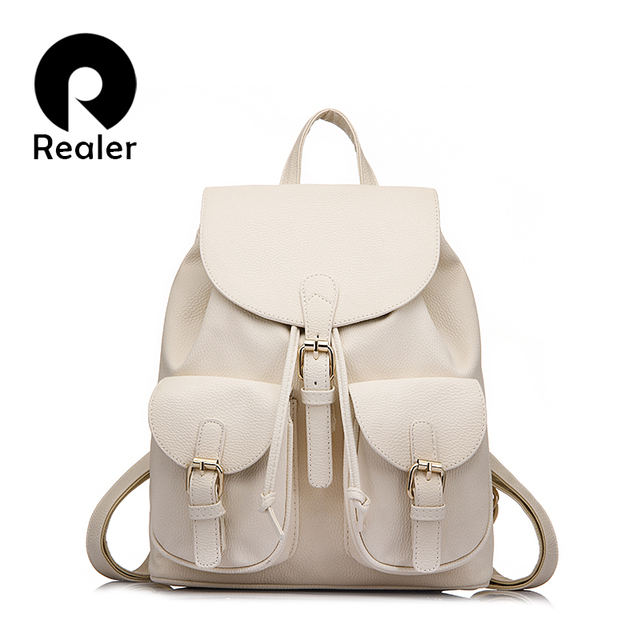 Realer Brand Preppy Style School Backpack Artificial Leather Fashion Women Shoulder Bag With Two Solid Pocket For Teens Girls