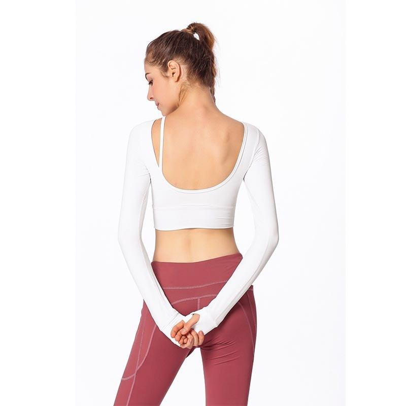 f8f572140b304 2019 Women Gym White Yoga Crop Tops Yoga Shirts Long Sleeve Workout Tops  Fitness Running Sport. sku  32917798121