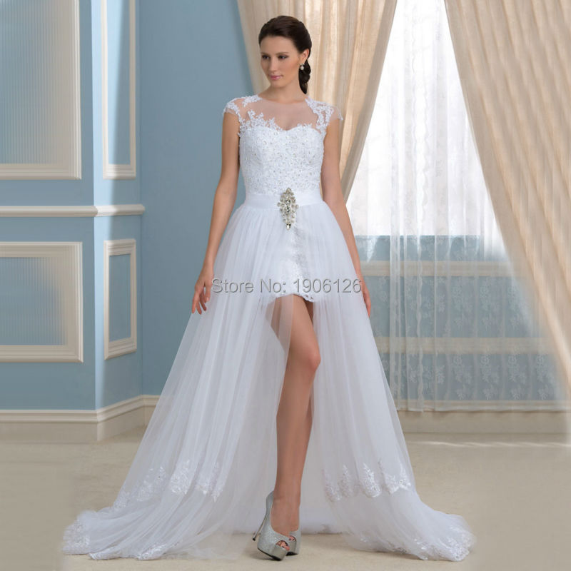 Robe De Mariee Princesse Tulle High Low Wedding Dresses 2016 Lace Bridal Gowns Zipper Sweep Train Vintage Vestido Novia