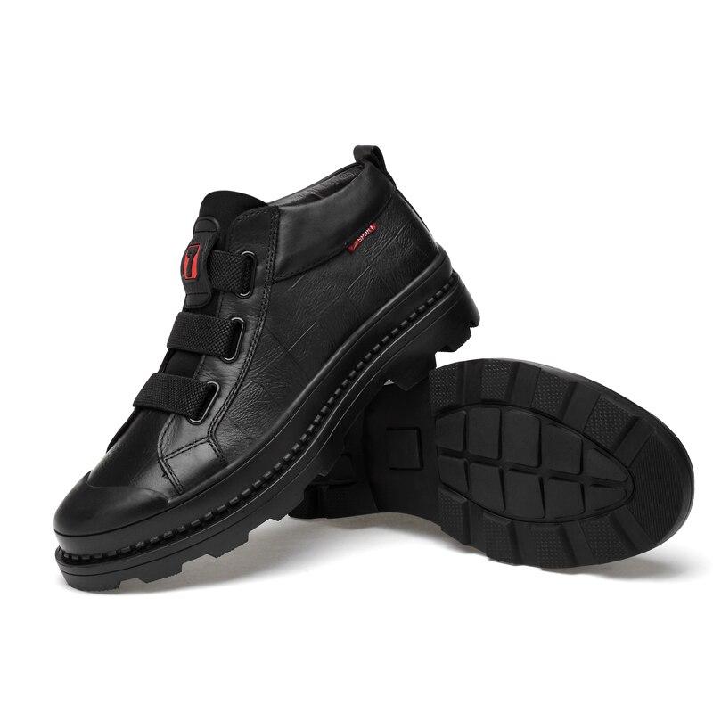 Clax Boot Mens Véritable Créateur Mode Casual Grande Chaussures En Cuir De Automne Mâle Marche Black Cheville Taille Bottes 3ARL4j5