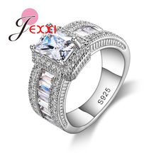 Hot Sale Women Fashion Wedding Jewelry Rings Cheap Price Top Quality 925 Sterling Silver Shiny Square CZ Ring Wholesale(China)