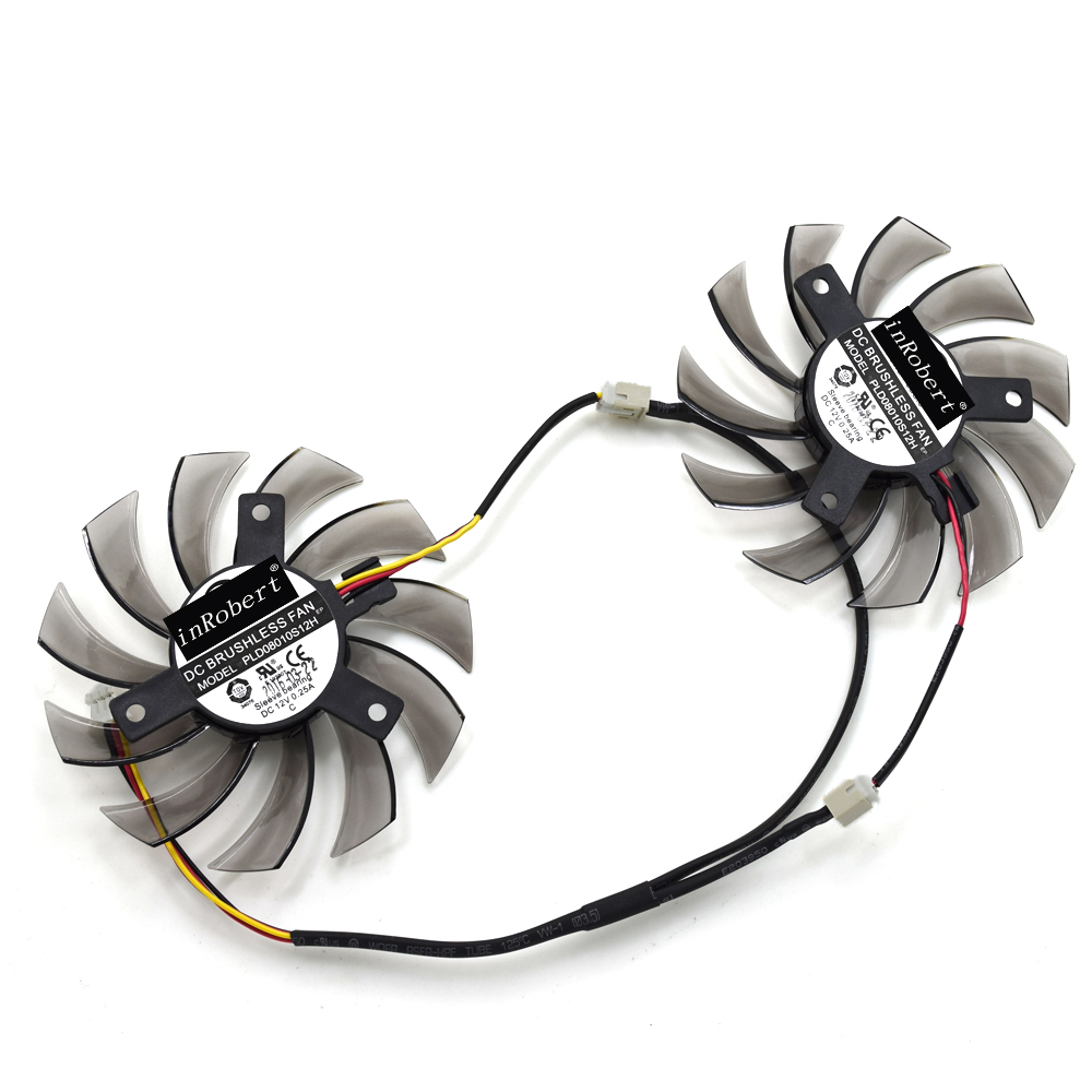 2pcs/lot PowerLogic 75MM PLD08010S12H 2Pin 3Pin Cooler Fan For Gigabyte GTX 560Ti 750Ti R9 280X GTS450 Graphics Video Card everflow t128010sm 75mm dc 12v 3pin 0 20a for gigabyte hd 6870 gtx470 gtx480 gtx570 gtx580 hd6970 graphics video card cooler fan