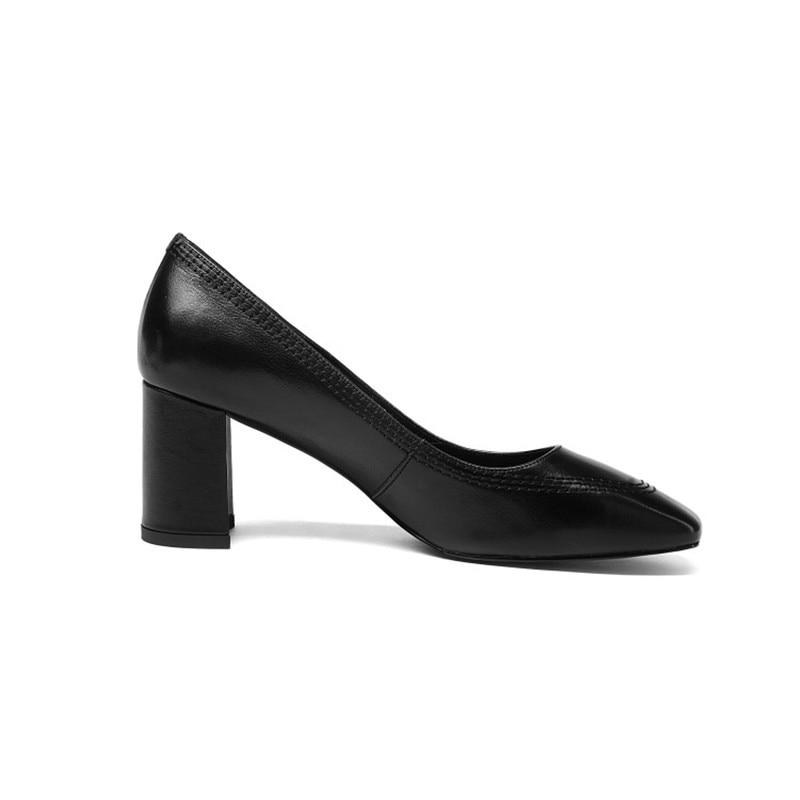 Cuero Sapato beige 100 Carrera De Altos Square Tacones Black Calzado Oficina Toe Bombas Natural Señoras Vaca Marca Feminino wTr8qEw6