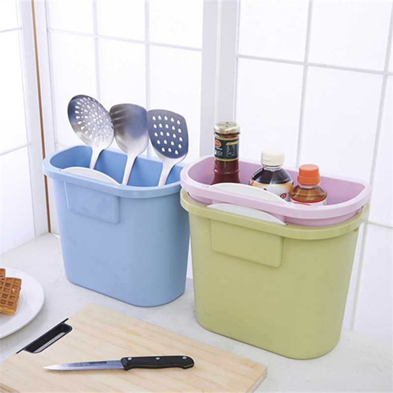 Kitchen Cabinet Storage Box Door Hanging Trash Storage Box Kitchen Tableware Debris Plastic Storage Organizer Kitchen Container