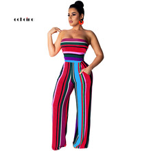 Echoine Women Jumpsuit Sexy Strapless Off Shoulder Backless Sleeveless Stripe Print Fashion Long Wide Leg Pants Rompers Outwear