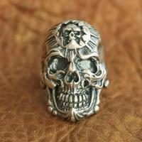 LINSION 925 Sterling Silver King of Hell Devil Skull Ring Mens Biker Punk Ring TA101 US Size 7~15