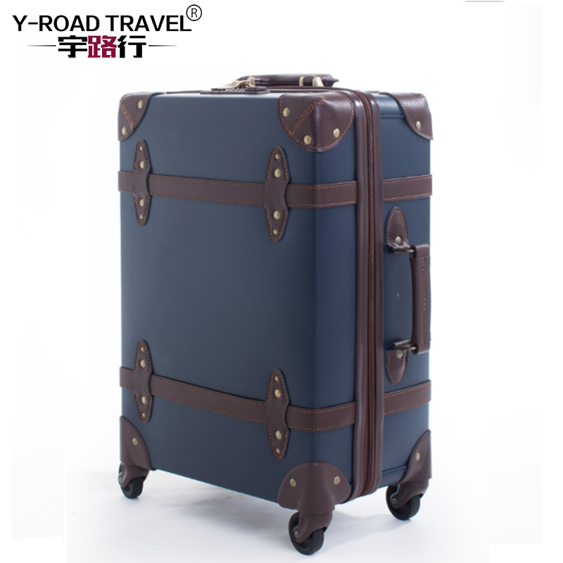 Large Caracity PU Leather Hardside Luggage Vintage Trolly Suitcase Travel Suitcase,Scrat ...