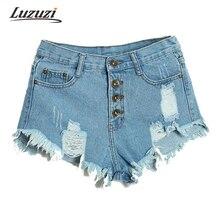 Для женщин рваные шорты из денима пикантные отверстие Короткие джинсы Обувь для девочек летняя пляжная одежда женская Шорты с высокой талией с неправильной Ленточки ws306