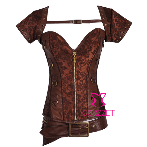 Sexy Lingerie Women Brown Dobby Zipper Front Steel Boned Overbust Gothic Corset Steampunk Bustier&Corsets Punk Corpete Corselet