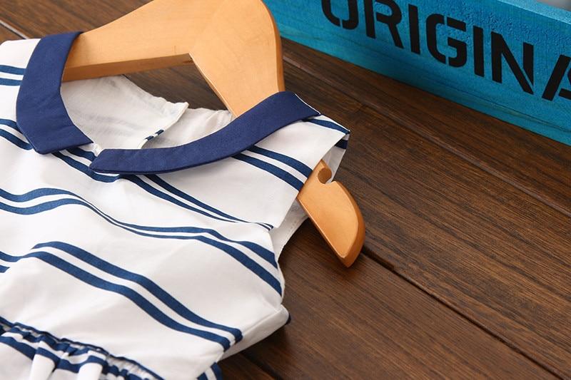 93333c7951a46 US $12.3 23% OFF|Brand Girls Summer Dress Cotton Sailor Style Sleeveless  Striper Girl Dress Children Clothing Casual Custumes for Kids 2 7 Yrs-in ...