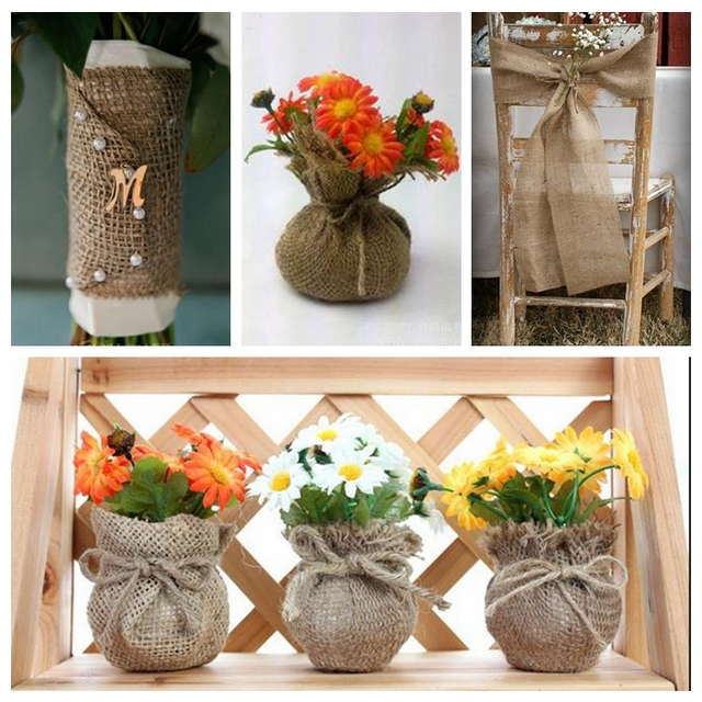 5cm 30m Natural Burlap Wreath Natural Jute Burlap Ribbon Craft Gift