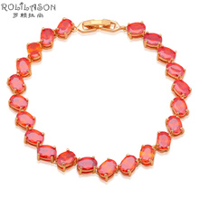 AAA Zirconia Party Bracelets for friends Gold Tone Orange Crystal Charm bracelets Wholesale Retail Fashion jewelry