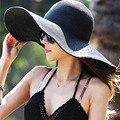 2015 de Moda de Verano Sombreros de Paja Flojo Ocasional de Viaje de Vacaciones de Ancho Dom de ala ancha Sombreros De Playa Plegable Sombreros Para Las Mujeres Con Grandes cabezas