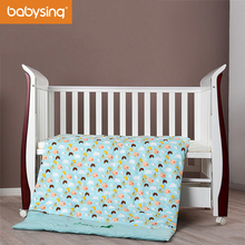 Baby Bedding Set 100% Cotton Cute Cartoon Print Duvet Cover Crib Quilt with Filling 4Pcs FCBK001