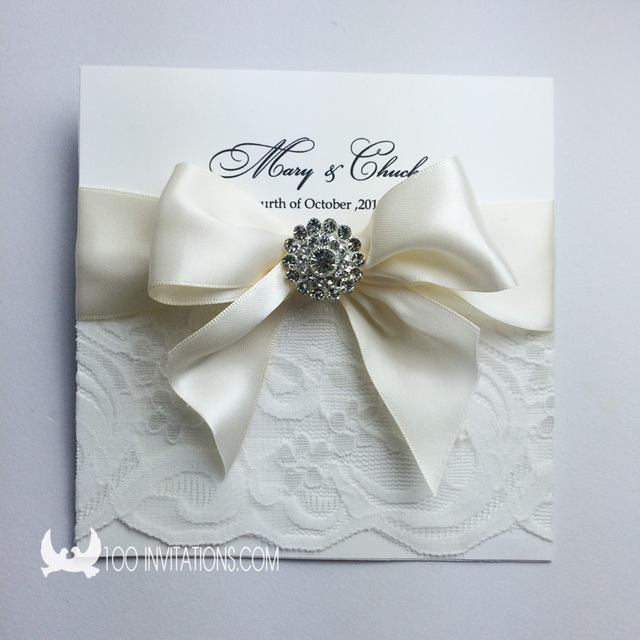 elegant square lace wedding invitation card with lace ribbon bow