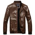 2015 New Fashion Autumn Winter Fleece Pu Leather Jacket Men Casual Slim Leather Coat Men